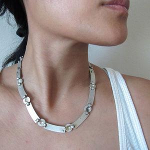 VINTAGE Silver Fashion Collar Necklace UNISEX